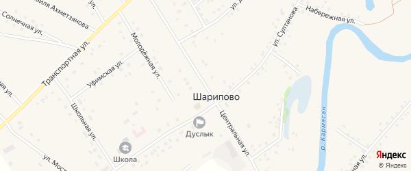 Центральная улица на карте села Шарипово Башкортостана с номерами домов