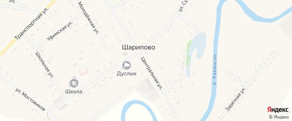 Центральная улица на карте села Шарипово с номерами домов