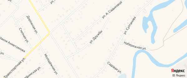 Улица Дружбы на карте села Шарипово Башкортостана с номерами домов