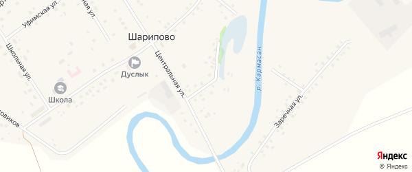 Озёрная улица на карте села Шарипово Башкортостана с номерами домов