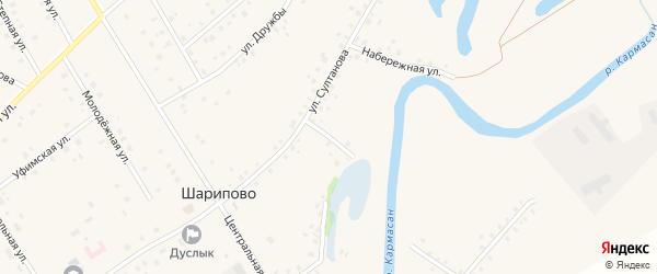 Садовая улица на карте села Шарипово Башкортостана с номерами домов
