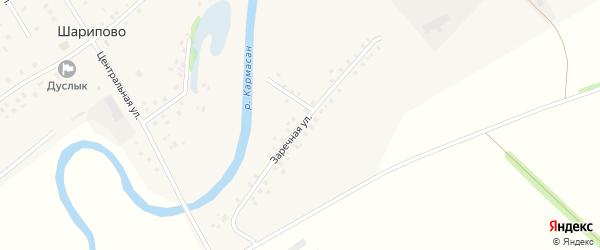 Заречная улица на карте села Шарипово Башкортостана с номерами домов