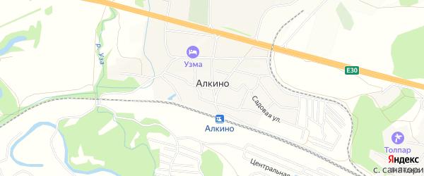 СНТ Солнечная поляна-Алкино на карте деревни Алкино Башкортостана с номерами домов