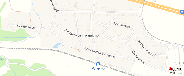 Тупиковая улица на карте деревни Алкино с номерами домов