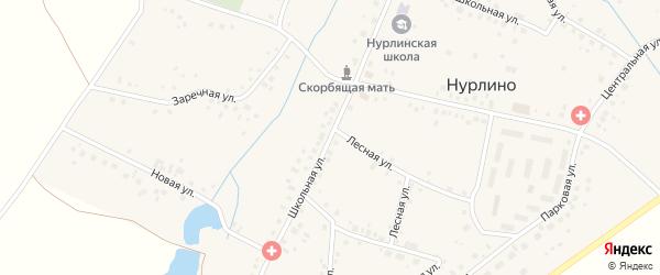 Школьная улица на карте села Нурлино Башкортостана с номерами домов