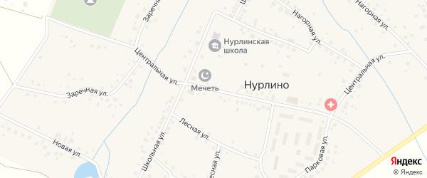 Центральная улица на карте села Нурлино Башкортостана с номерами домов