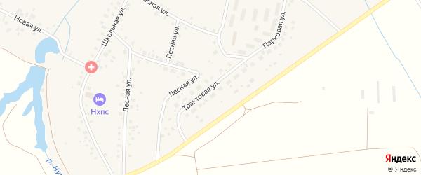 Трактовая улица на карте села Нурлино Башкортостана с номерами домов