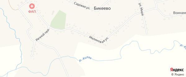 Малиновая улица на карте села Бикеево с номерами домов