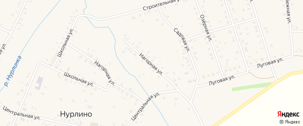 Нагорная улица на карте села Нурлино Башкортостана с номерами домов
