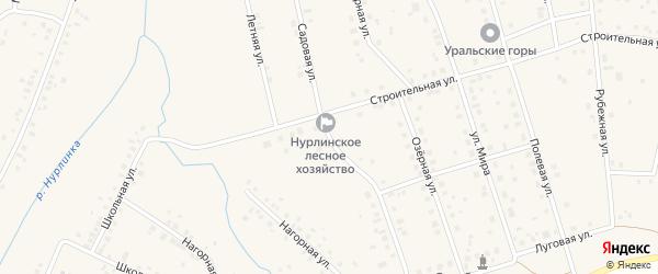 Садовая улица на карте села Нурлино Башкортостана с номерами домов