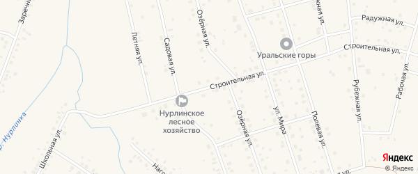 Строительная улица на карте села Нурлино Башкортостана с номерами домов