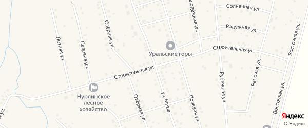 Улица Мира на карте села Нурлино Башкортостана с номерами домов