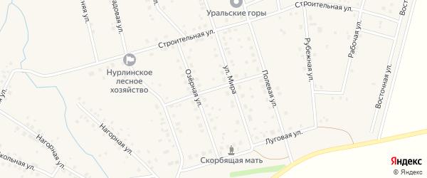 Луговая улица на карте села Нурлино Башкортостана с номерами домов