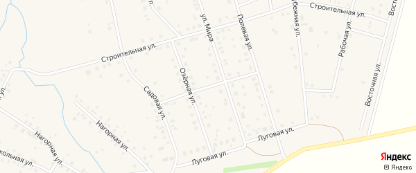 Луговая улица на карте села Нурлино с номерами домов