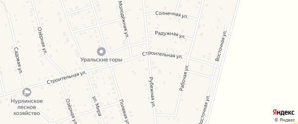 Рубежная улица на карте села Нурлино Башкортостана с номерами домов