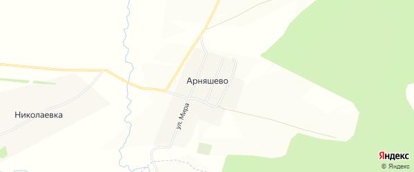 Карта деревни Арняшево в Башкортостане с улицами и номерами домов