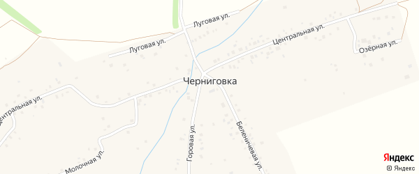 Улица Заря на карте села Черниговки Башкортостана с номерами домов