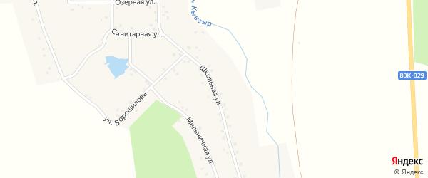 Школьная улица на карте деревни Сосновки с номерами домов