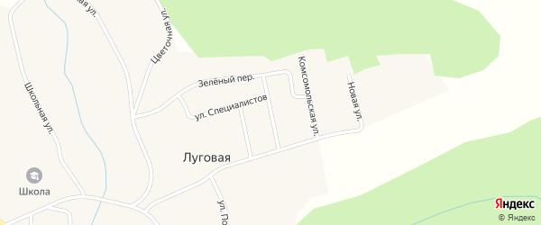 Солнечная улица на карте Луговой деревни Пермского края с номерами домов
