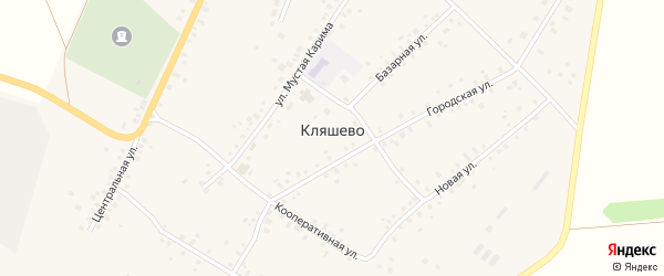 Улица Фариды Кудашевой на карте села Кляшево Башкортостана с номерами домов