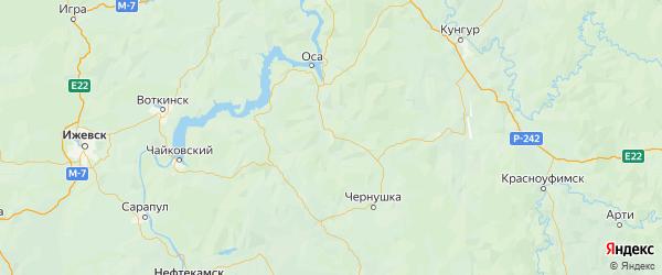 Карта Бардымского района Пермского края с городами и населенными пунктами
