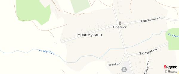 Заречная улица на карте села Новомусино Башкортостана с номерами домов