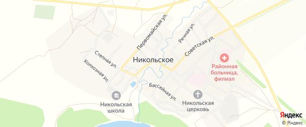 Карта Никольского села в Оренбургской области с улицами и номерами домов
