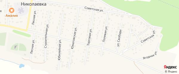 Торговая улица на карте деревни Николаевки с номерами домов