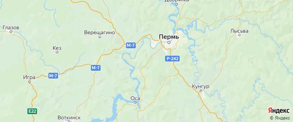 Карта Пермского района Пермского края с городами и населенными пунктами
