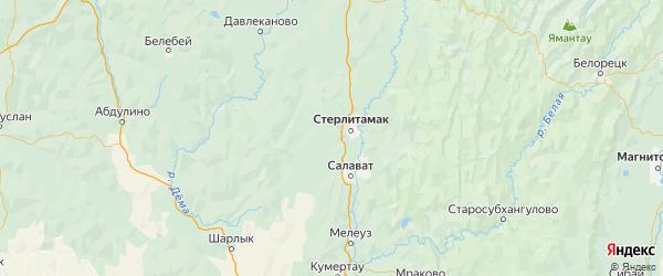 Карта Стерлитамакского района Республики Башкортостана с городами и населенными пунктами