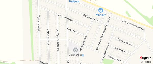 Светлая улица на карте села Жуково Башкортостана с номерами домов