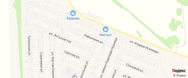 Рябиновая улица на карте села Жуково с номерами домов