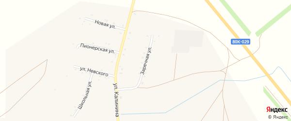 Заречная улица на карте села Калинники Башкортостана с номерами домов