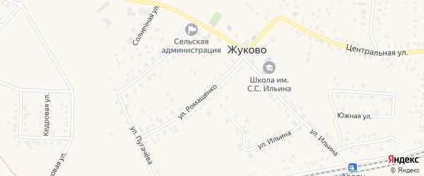 Улица Ромащенко на карте села Жуково Башкортостана с номерами домов