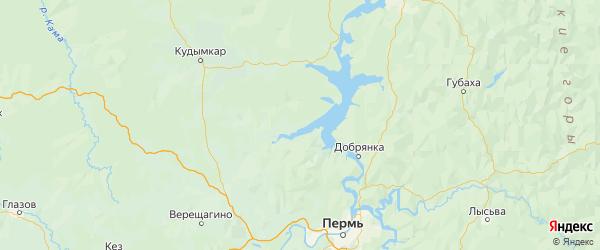 Карта Ильинского района Пермского края с городами и населенными пунктами