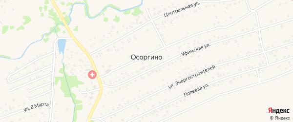 Парковая улица на карте деревни Осоргино с номерами домов