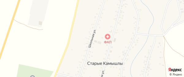 Школьная улица на карте села Старых Камышлы с номерами домов