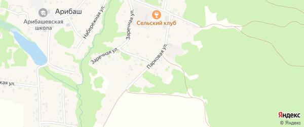 Парковая улица на карте деревни Арибаша Башкортостана с номерами домов