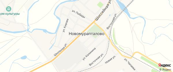 Карта села Новомурапталово в Башкортостане с улицами и номерами домов