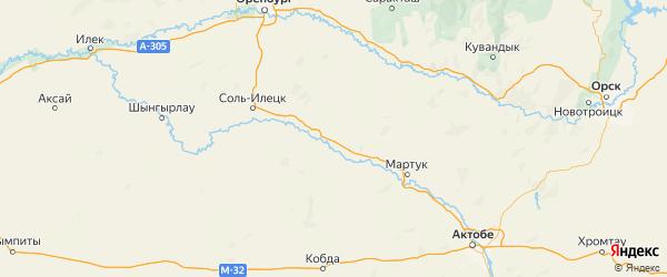Карта Акбулакского района Оренбургской области с городами и населенными пунктами