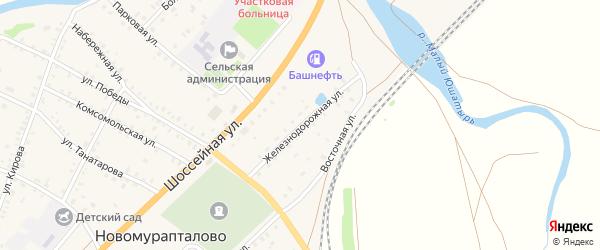 Железнодорожная улица на карте села Новомурапталово с номерами домов