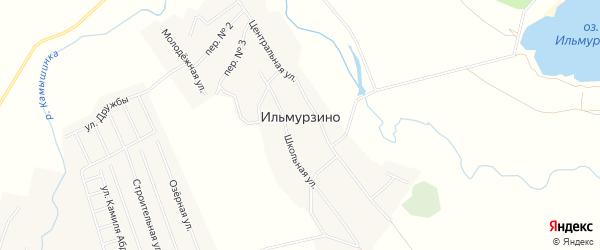 Карта деревни Ильмурзино в Башкортостане с улицами и номерами домов