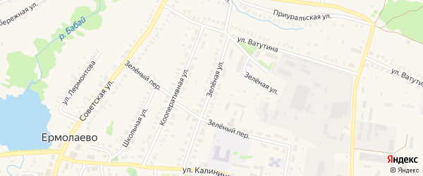 Зеленая улица на карте села Ермолаево Башкортостана с номерами домов