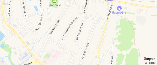 Улица Матросова на карте села Ермолаево Башкортостана с номерами домов