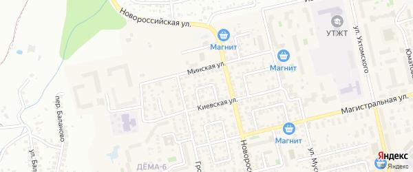 Минский 1-й переулок на карте Уфы с номерами домов
