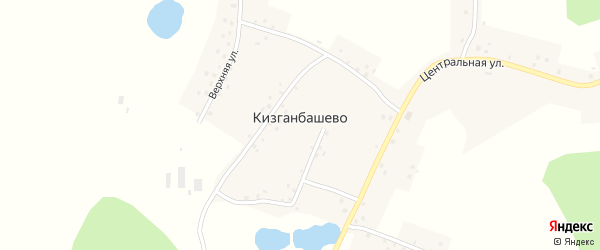 Верхняя улица на карте деревни Кизганбашево с номерами домов
