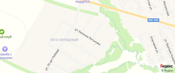 Улица Евгения Логунова на карте села Верхние Татышлы Башкортостана с номерами домов