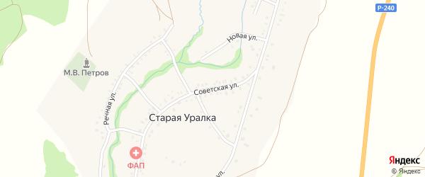 Советская улица на карте деревни Старой Уралки с номерами домов