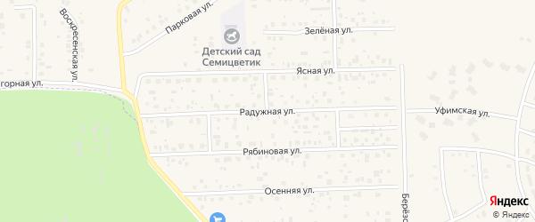 Радужная улица на карте села Булгаково с номерами домов