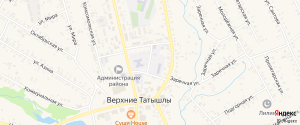 Улица М.Джалиля на карте села Верхние Татышлы с номерами домов